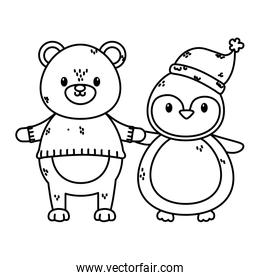 polar bear with sweater and penguin with hat celebration merry christmas thick line