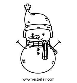 snowman with hat and scarf celebration merry christmas thick line