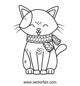 cat with scarf tongue out celebration merry christmas thick line