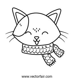 cute cat head with scarf tongue out celebration merry christmas thick line