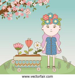 girl with flower ornament in hair and flowers in pot