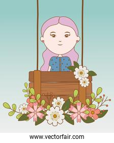 girl with wooden board decorative flowers cartoon