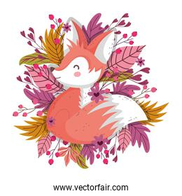 cute fox foliage leaves berries autumn on white background