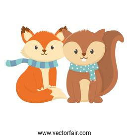 cute fox and squirrel with scarf autumn