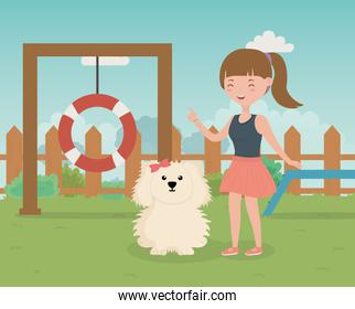 girl and dog in training zone pet care