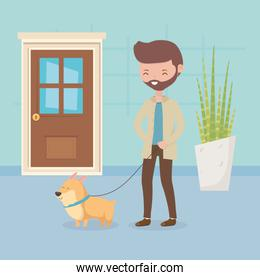 man with her dog walking pet care