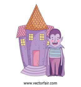 happy halloween celebration boy dracula with cape costume and castle