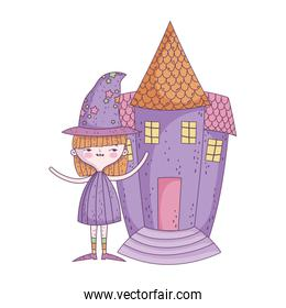 happy halloween celebration girl with hat costume and castle