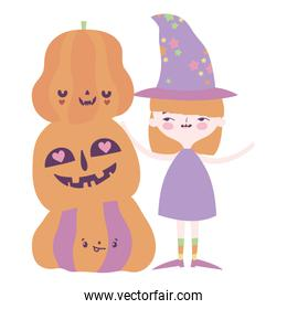 happy halloween celebration girl witch and pile pumpkins