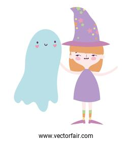 happy halloween celebration girl with hat costume and ghost