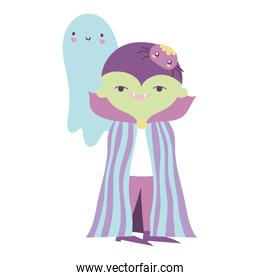 happy halloween celebration boy dracula costume ghost and spider