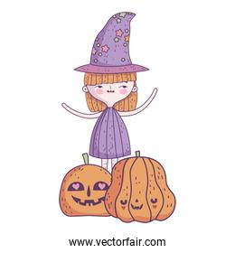 happy halloween celebration girl witch and pumpkins