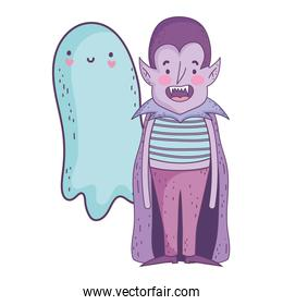 happy halloween celebration boy dracula with cape costume and ghost