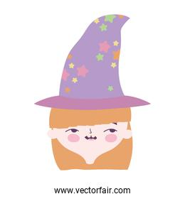 happy halloween celebration girl face with hat costume