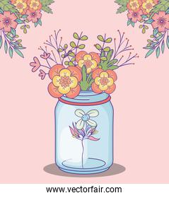 mason jar with bunch of flowers decoration