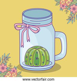 mason jar with cactus flowers and bow decoration