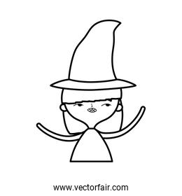 happy halloween celebration girl with hat costume line style