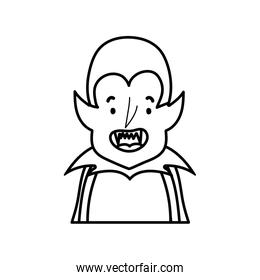 happy halloween celebration boy dracula with cape and teeth costume line style