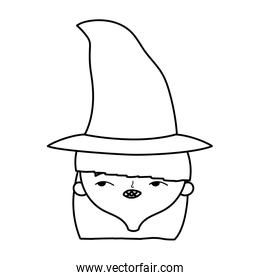 happy halloween celebration girl face with hat costume line style