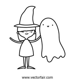happy halloween celebration girl with hat costume and ghost line style
