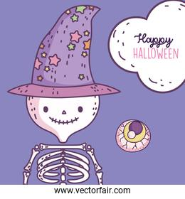 happy halloween celebration skeleton with hat and scary eye