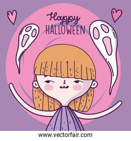 happy halloween celebration girl with ghosts