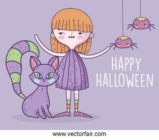 happy halloween celebration girl with cat and spiders