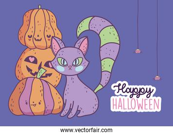 happy halloween celebration scary cat and pile pumpkins