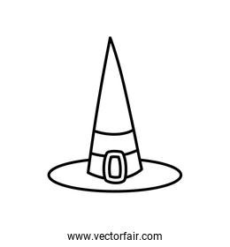 happy halloween celebration witch hat costume thick line