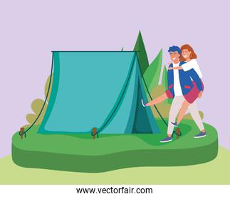 man carrying woman tent camping outdoors scene