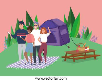 people using mobile tablet food tent blanket camping picnic