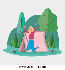 jumping woman tent camping picnic forest