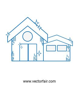line clean house with roof and door design