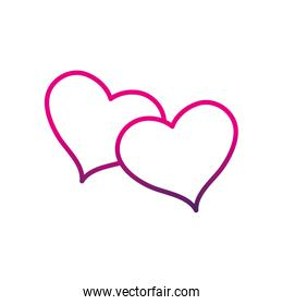 line hearts together to love and romantic symbol over white