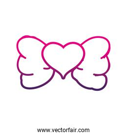 line cute ribbon bow with heart decoration design