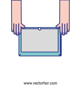 hands with screen tablet technology object