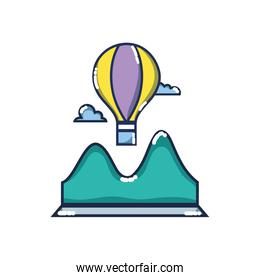 air balloon fly design with mountains and clouds around