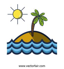 island with palm tree with sun and waves ocean