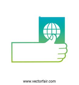 silhouette hand with passport to travel document id