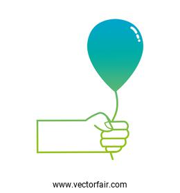 silhouette hand with balloon design decoration celebration