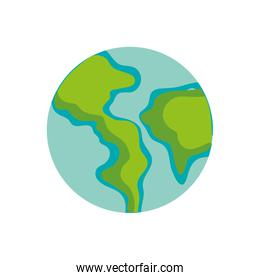 earth planet with continent geography and ocean
