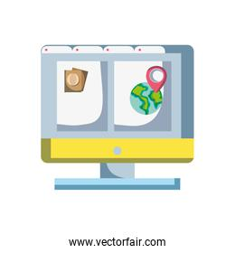 computer with webside to travel tickets and location symbol