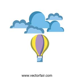 air balloon fly with cloud natural weather