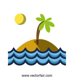 island with palm tree with sun and waves sea