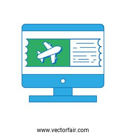 computer with webside to travel symbol