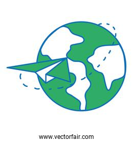 global earth planet with paper airplane design