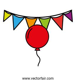 balloon and flag party celebration decoration over white