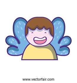 avatar boy with t-shirt and wings decoration