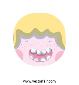 happy boy head with hairstyle design