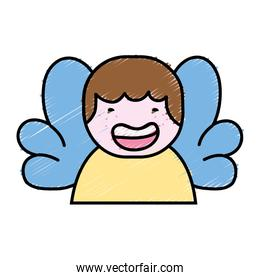 grated avatar boy with t-shirt and wings decoration